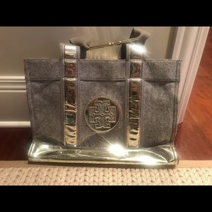 Tory Burch Wool Gray Tote with Silver Handles